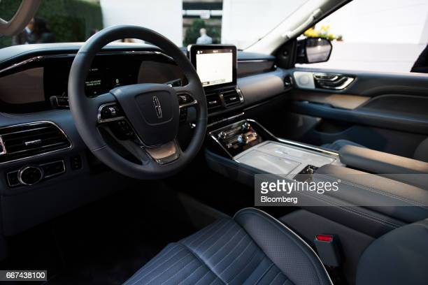 The interior of a Ford Motor Co Lincoln Navigator sports utility vehicle is seen during an event ahead of the 2017 New York International Auto Show...