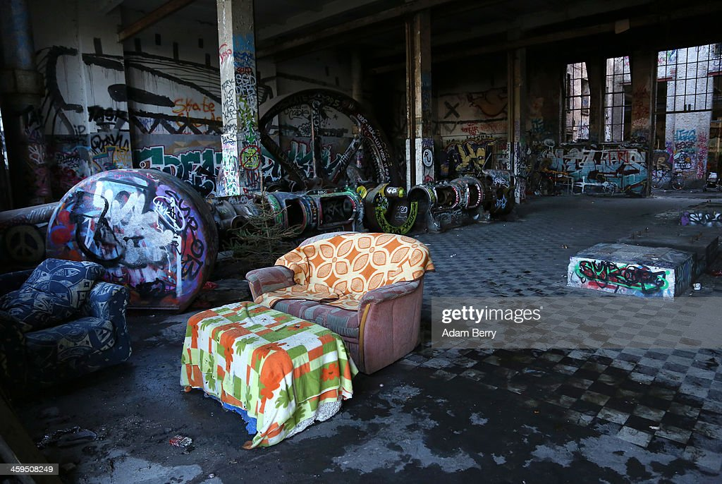 The interior of a former ice factory known locally as the Eisfabrik, currently containing makeshift dwellings for homeless Roma from Bulgaria, is seen on December 27, 2013 in Berlin, Germany. The future of several homeless members of the Roma community, mostly from Bulgaria, remains uncertain as officials decide whether to evict those who have taken up residence over the past two years in the decayed structure. Citizens of Romania and Bulgaria, countries which joined the European Union in 2007, will be granted full access to European job markets next year, which some critics fear may bring about 'welfare tourism,' seeing squats such as those in the Eisfabrik as a warning of what will come if the immigration is unregulated.