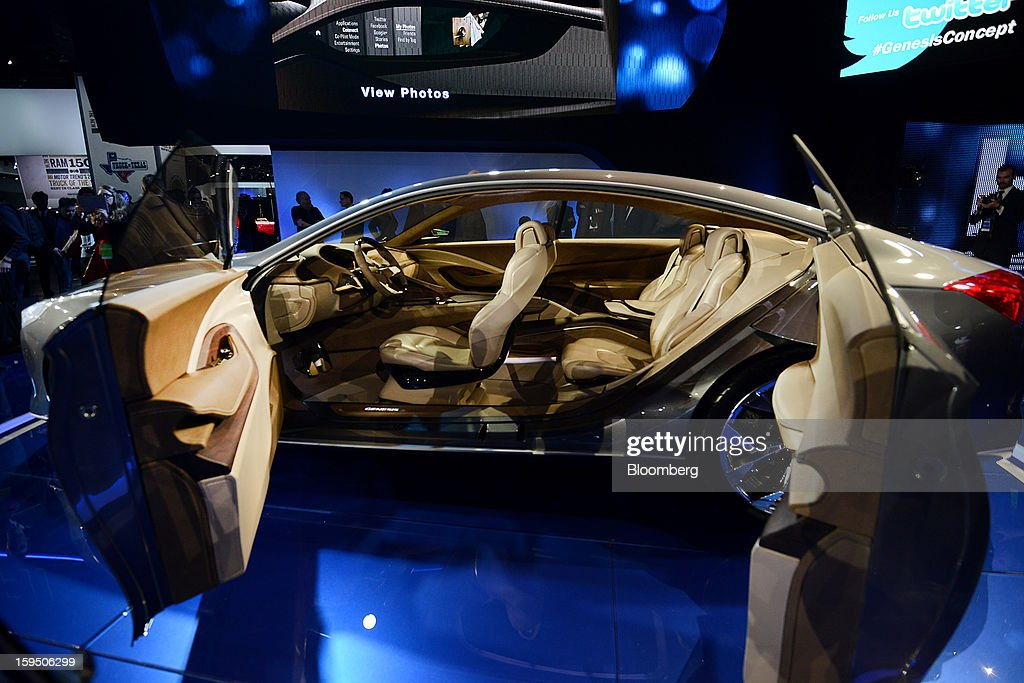 The interior of a Hyundai Motor Co. HCD-14 Genesis concept luxury sedan is seen during the 2013 North American International Auto Show (NAIAS) in Detroit, Michigan, U.S., on Monday, Jan. 14, 2013. The Detroit auto show runs through Jan. 27 and will display over 500 vehicles, representing the most innovative designs in the world. Photographer: Daniel Acker/Bloomberg via Getty Images