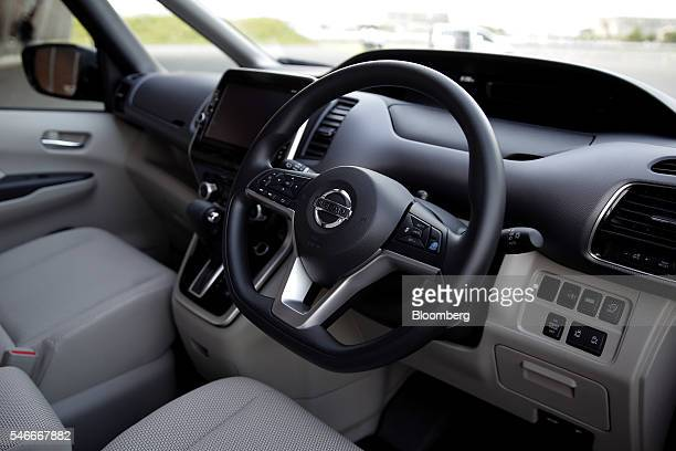 The interior of a Nissan Motor Co Serena minivan equipped with the automaker's ProPilot autonomousdrive technology is seen during a test drive at the...