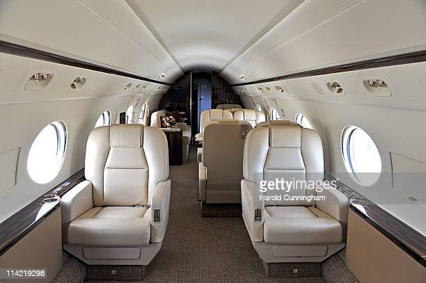 The interior of a private jet is seen during the 11th annual European Business Aviation Convention and Exhibition held at Geneva International...