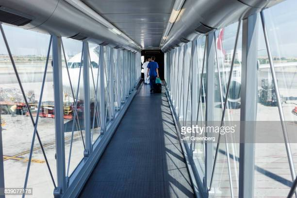 The interior of a ramp to an airplane at Adolfo Suàrez Madrid_Barajas Airport