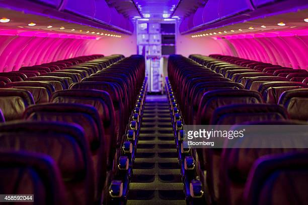 The interior of a Virgin America Inc Airbus A320 plane is seen at San Francisco International Airport in San Francisco California US on Thursday Nov...