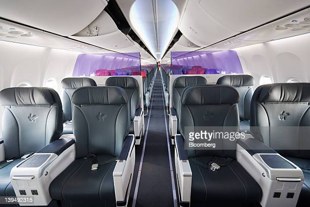 The interior of a Virgin Australia Holdings Ltd Boeing 737800 aircraft is seen at the domestic terminal of Sydney airport in Sydney Australia on...