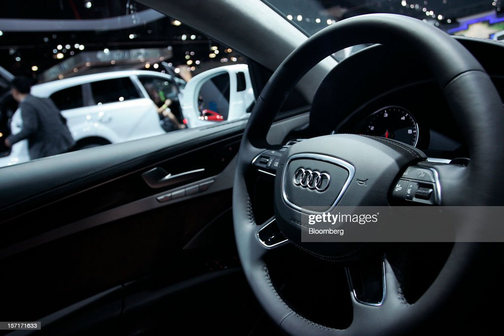 The interior of an Audi AG vehicle is seen at the company's booth during the LA Auto Show in Los Angeles, California, U.S., on Thursday, Nov. 29, 2012. The LA Auto Show is open to the public Nov. 30 through Dec. 9. Photographer: Jonathan Alcorn/Bloomberg via Getty Images