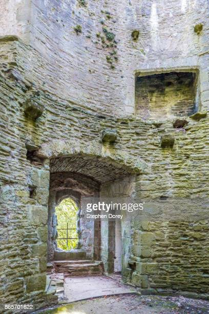 The interior of Bronllys Castle - a motte and bailey castle dating from the 12th century in the Brecon Beacons at Bronllys near Talgarth, Powys, Wales UK