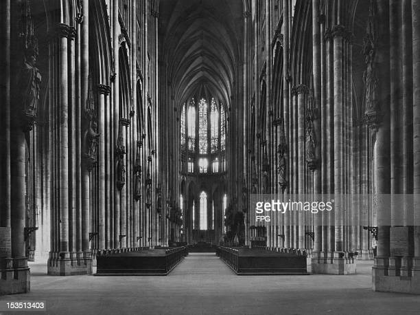 The interior of Cologne Cathedral Germany circa 1930