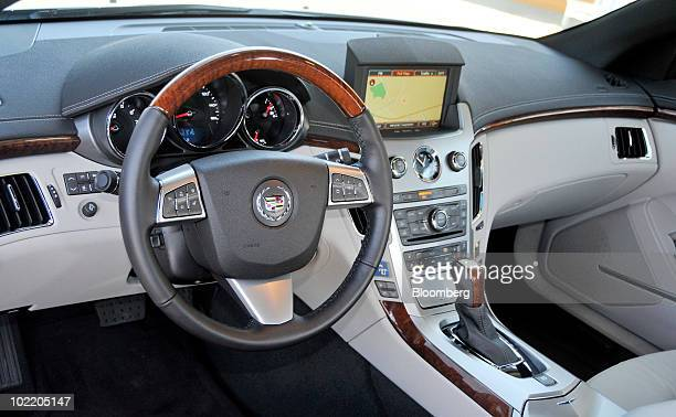 The interior of General Motors Co's 2011 Cadillac CTS Coupe is seen during a media test drive in Carneros California on Tuesday June 15 2010 GM is...