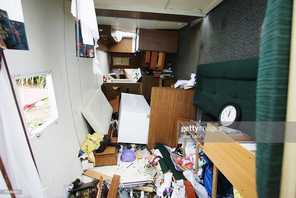 The interior of local beach camp resident Norm Forth's caravan is pictured on July 6 2007 in the seaside property of Oakura south west of New...
