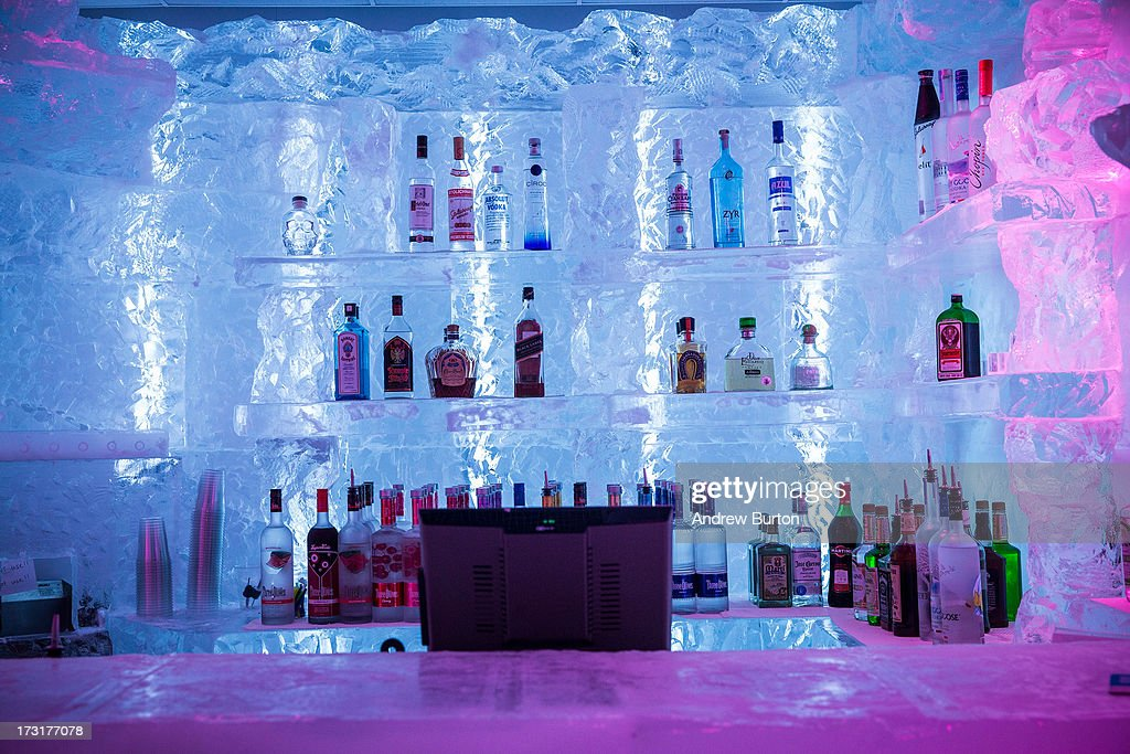 The interior of Minus5 Ice Bar is seen on July 9, 2013 in New York City. The bar, which opened yesterday, is built from 90 tons of ice, kept at 23 degrees Fahrenheit, or minus 5 degrees Celsius, and can hold 55 people.