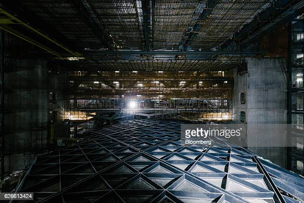 The interior of Morpheus Melco Crown Entertainment Ltd's new hotel tower is seen under construction at the company's City of Dreams casino resort in...