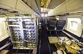The interior of NASA's highly modified Douglas DC8 jetliner which operates as a flying science laboratory as it is equipped inside a hangar at the...