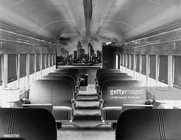 The interior of one of the coaches on the New York Central Railroad's new streamlined Mercury train Detroit Michigan July 13 1936 Each seat has...