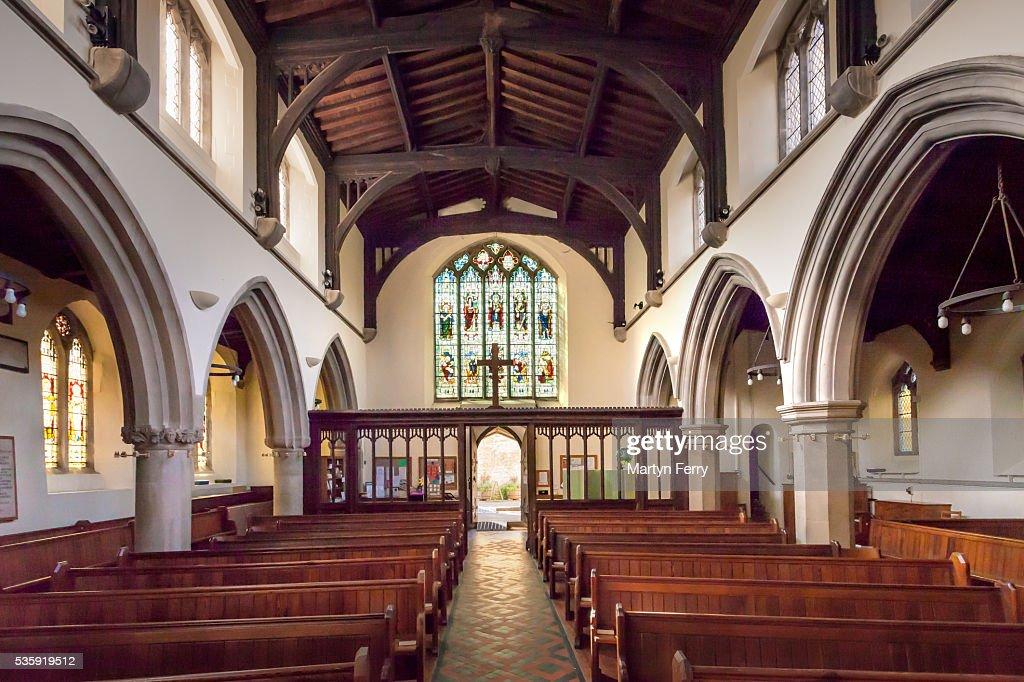 The interior of St Mary Magdalene church : Stock Photo