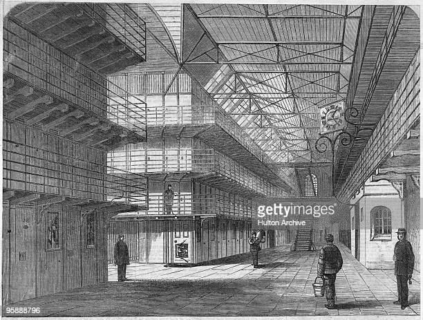 The interior of St Mary's Convict Prison on St Mary's Island Chatham Kent circa 1860 It opened in 1856 to house the prisoners from the prison hulks...