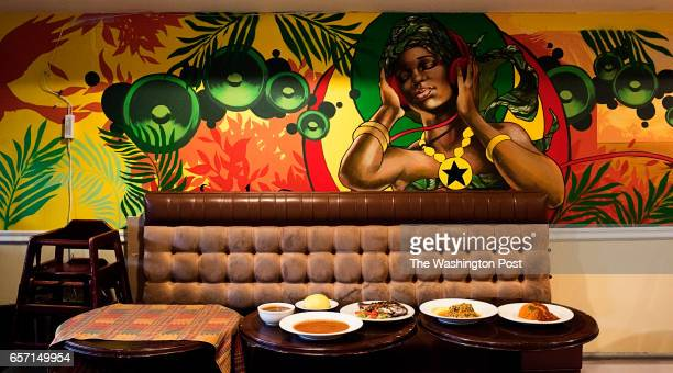 The interior of the Appioo African Bar and Grill Restaurant photographed in Washington DC on March 2017