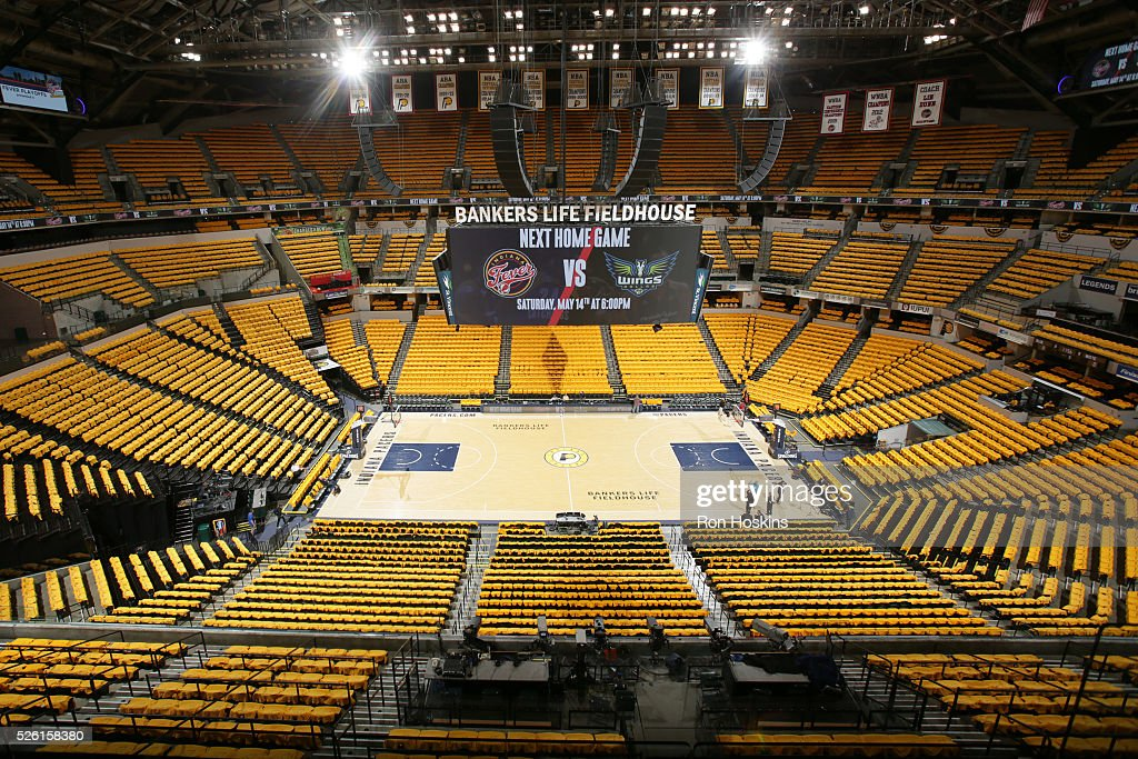 The interior of the arena before Game Six of the Eastern Conference Quarterfinals between the Indiana Pacers and the Toronto Raptors during the 2016 NBA Playoffs on April 29, 2016 at Bankers Life Fieldhouse in Indianapolis, Indiana.