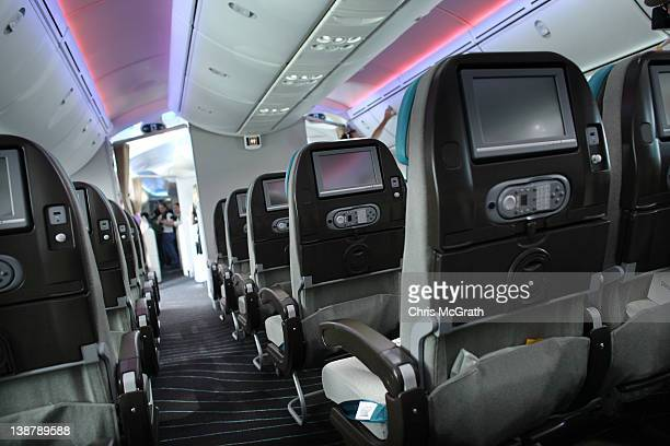 The interior of the Boeing 787 Dreamliner is seen during a media tour on February 12 2012 in Singapore The 787 Dreamliner will be on show at the...