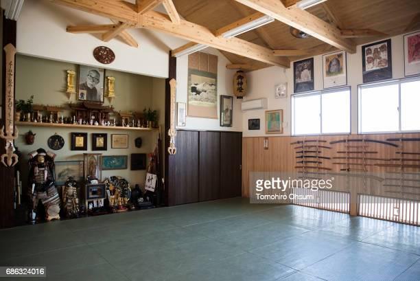The interior of the Bujinkan dojo is seen on May 21 2017 in Noda Japan The Bujinkan is a martial arts organization headed by Grandmaster Masaaki...