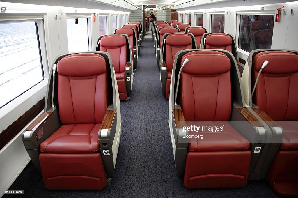 The interior of the business class car of a China Railways high speed train is seen at Hongqiao Railway Station in Shanghai, China, on Friday, Feb. 8, 2013. A record 3.41 billion passenger trips may be made this year during the Lunar New Year period, according to the National Development and Reform Commission. Photographer: Tomohiro Ohsumi/Bloomberg via Getty Images
