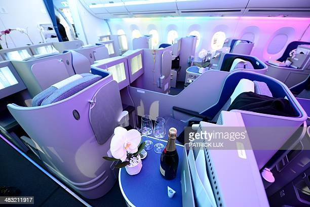 The interior of the business class of the new Airbus A350 XWB is pictured during a presentation in Hamburg northern Germany on April 07 2014 European...