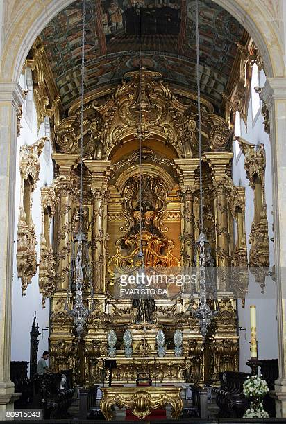 The interior of the church of Sao Bento in Olinda Pernambuco northeastern Brazil on April 28 2008 Olinda an historic city founded by the Portuguese...