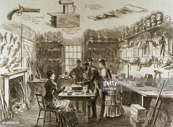 The interior of the Convict Office at Scotland Yard contains a library of record books containing details of the biography of convicted persons in...