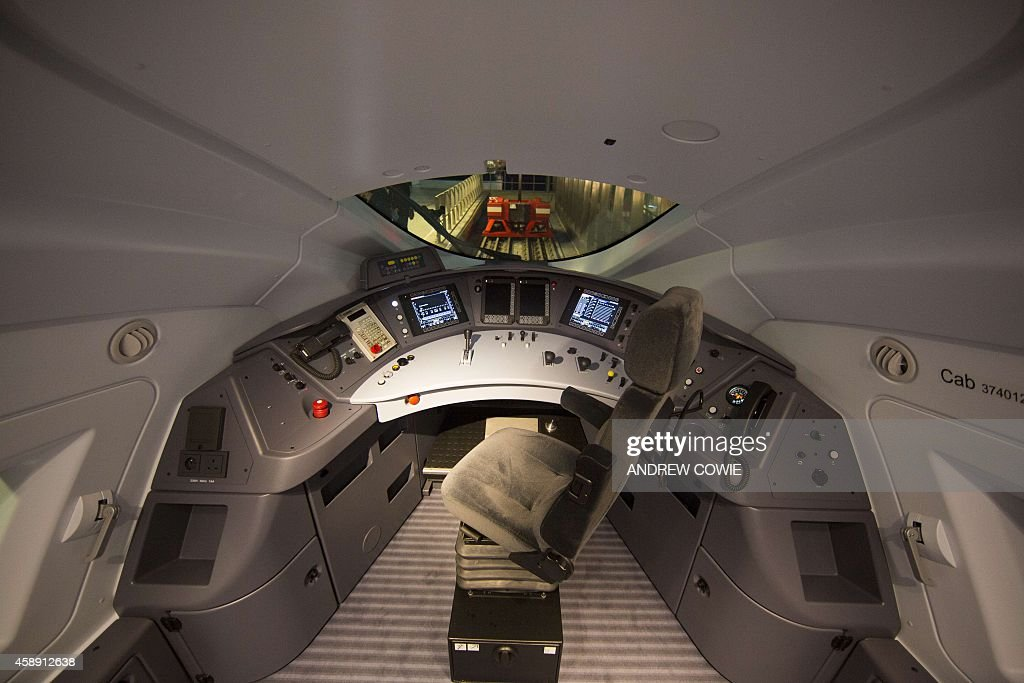 The interior of the drivers compartment in the new Eurostar Train e320 is seen at St Pancras Station during a press day launch in central London on...