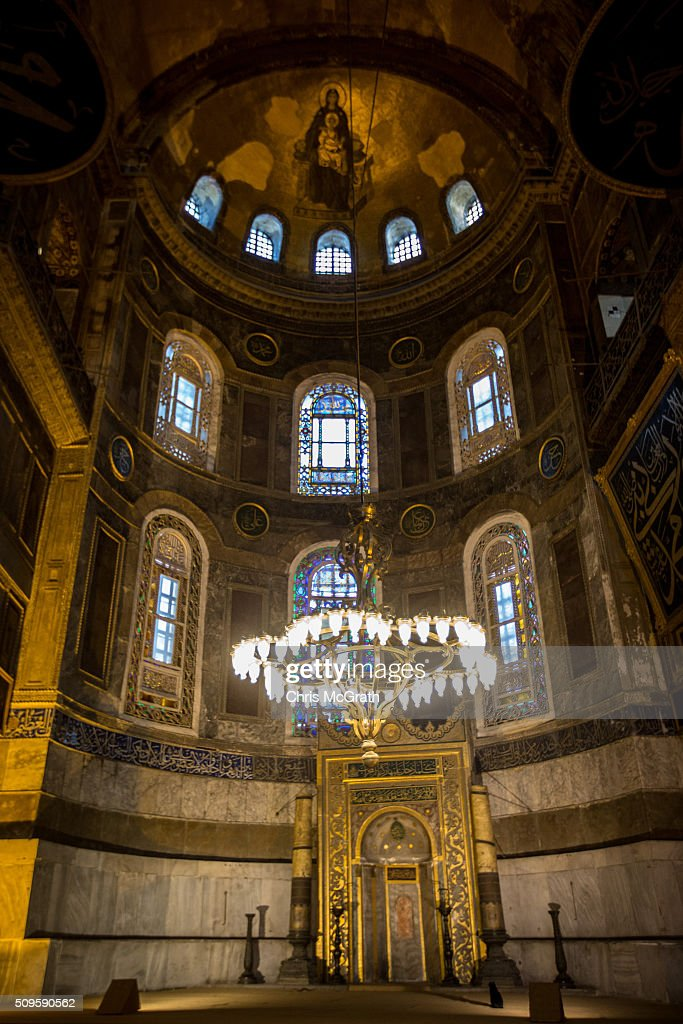 The interior of the Hagia Sophia Museum is seen on February 11, 2016 in Istanbul, Turkey. The Hagia Sophia (Ayasofya) Museum is one of the most visited tourist attractions in Turkey, with more than 3 million visitors per year. Constructed in 537 the museum originally served as an Orthodox Cathedral, later a Roman Catholic church and was converted into a mosque when Constantinople was conquered by the Ottoman Turks in 1453. In 1935 it was opened as a museum by the Republic of Turkey. The museum is currently undergoing restoration on various parts of the interior.