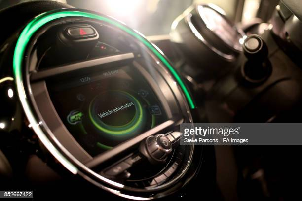 The interior of the new BMW Mini as it is unveiled at their plant in Oxford to coincide with the 107th anniversary of the birth of the car's designer...