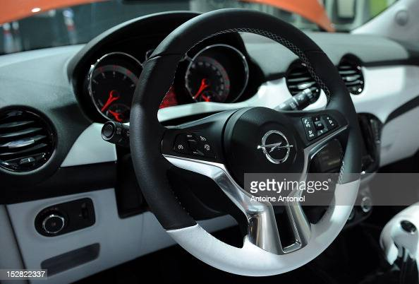 The interior of the new Opel Adam car is seen at the Paris Auto Show on September 27 2012 in Paris France Opel which has been owned by General Motors...