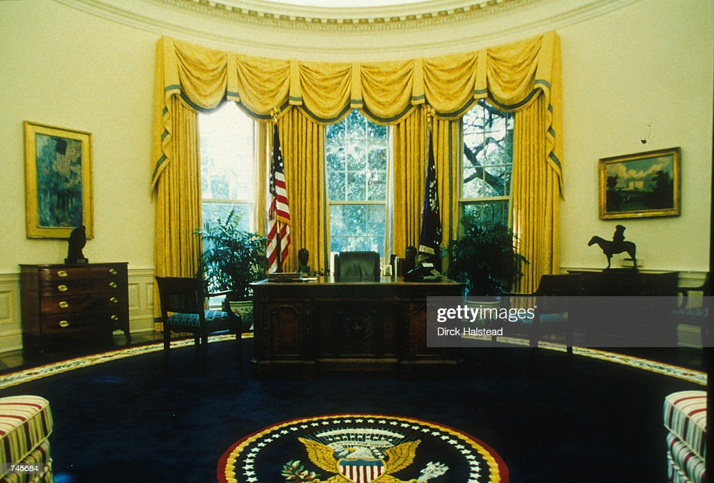 the white house oval office. the interior of newly redecorated oval office in white house washington