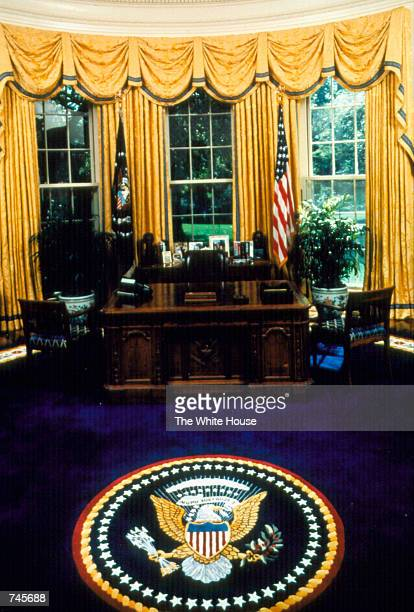 The interior of the oval office in the White House in Washington DC November 15 1993