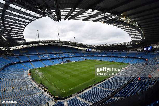 The interior of the stadium is seen ahead of the English Premier League football match between Manchester City and West Bromwich Albion at the Etihad...