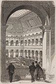 The interior of the Stock Exchange engraving by Coste based on a drawing by Morin from ParisGuide by leading writers and artists of France Volume 2...