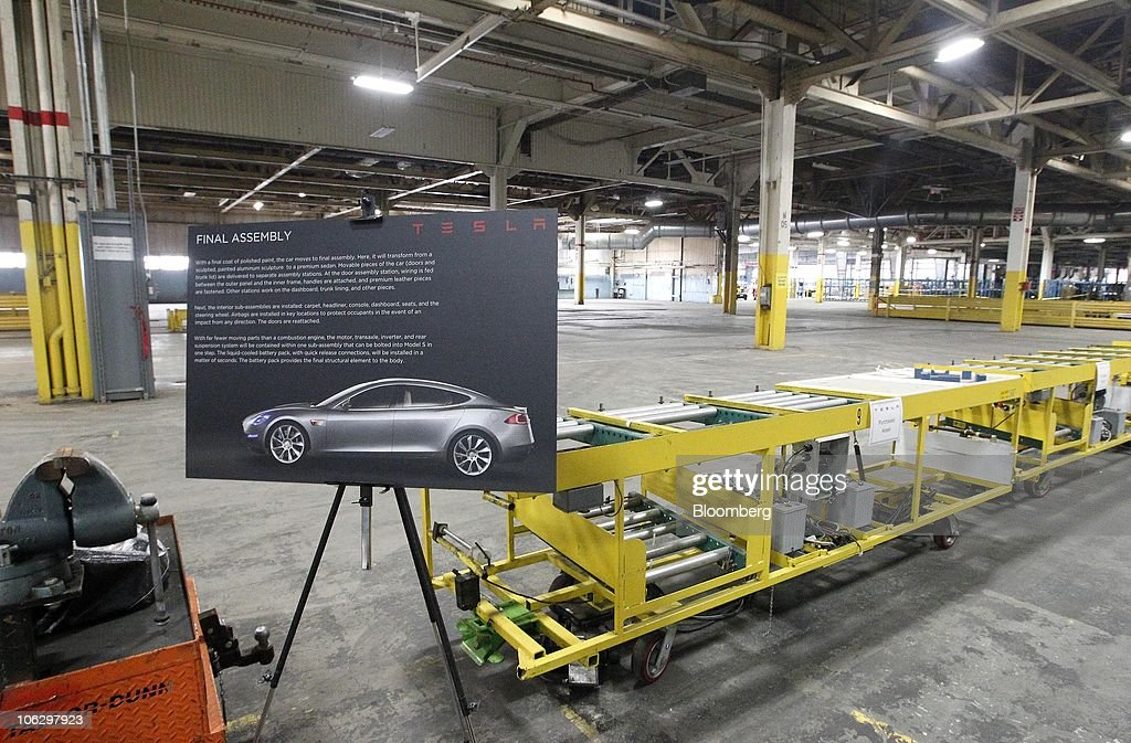 interior of the tesla motors inc auto plant formerly operated by new