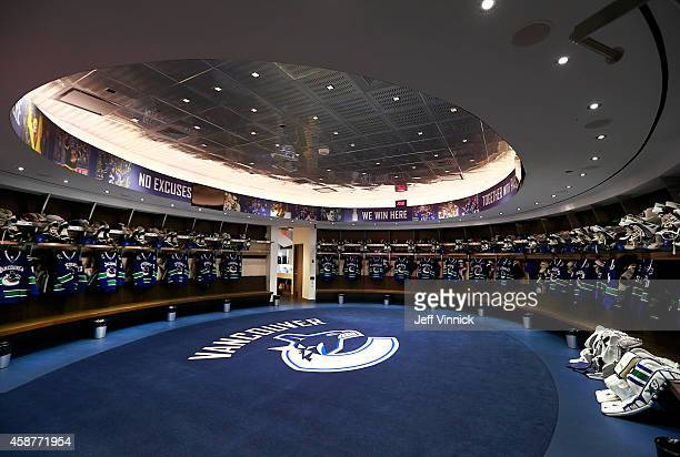 The interior of the Vancouver Canucks dressing room before their NHL game against the Nashville Predators at Rogers Arena November 2 2014 in...