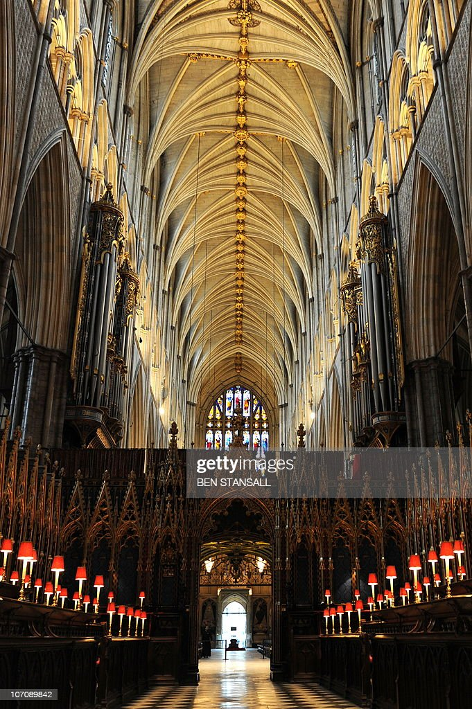 The interior of Westminster Abbey is pictured in central London on November 23, 2010. Britain's Prince William and Kate Middleton are to marry on April 29 next year at Westminster Abbey, the historic London church where his mother Diana's funeral was held in 1997, royal officials announced Tuesday. The couple want to turn their wedding day into an international party in what is set to be the biggest royal event in Britain since William's parents Prince Charles and Diana married in 1981, aides said.