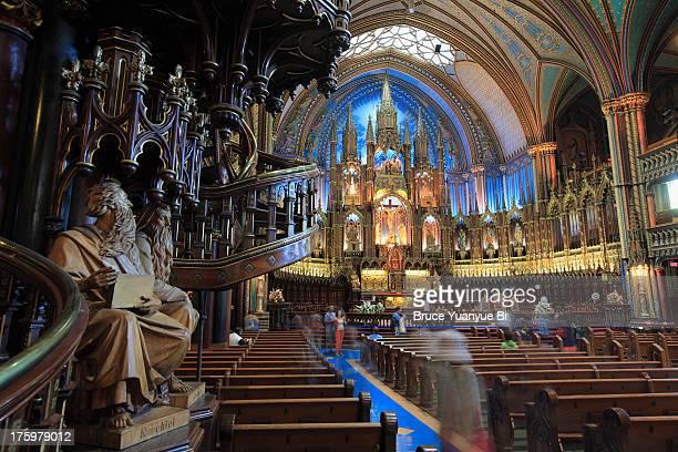The interior view of Notre-Dame Basilica