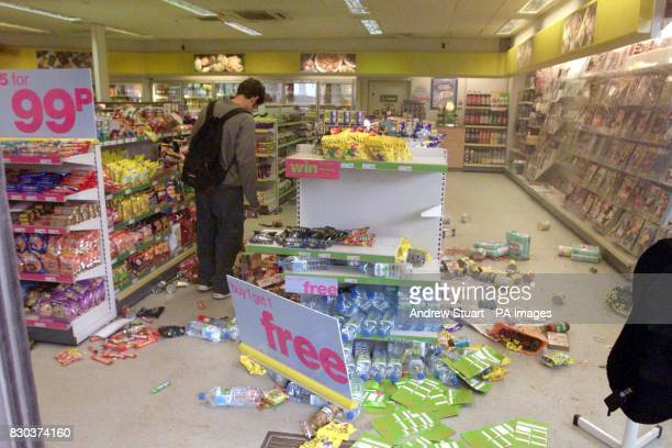 The interior view of the BP Garage in Kennington Lane south east London where many products on display have been disrupted during rioting in the area...