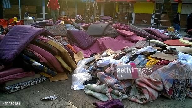 The interior yard of the shelter 'La Gran Familia' during a police raid where 596 people including 458 children were rescued in Zamora Michoacan...