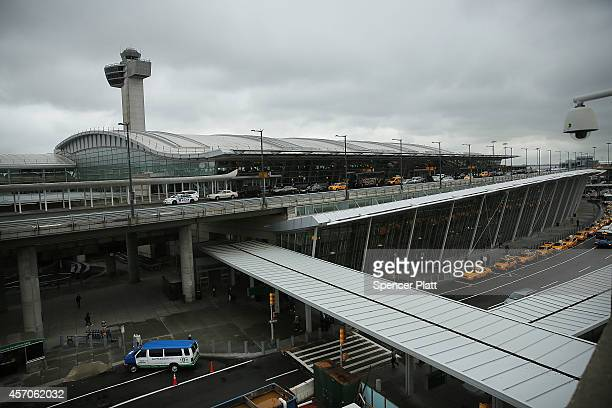 The international arrivals terminal is viewed at New York's John F Kennedy Airport airport on October 11 2014 in New York City Ebola screenings began...