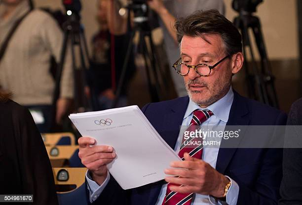 The International Association of Athletics Federations 's President Sebastian Coe attends a press conference on the report of the World AntiDoping...