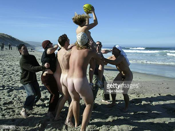 The International Barbarians Andrea Cooper take the lineout ball against the Kiwi Selection during the International Nude Touch Rugby match at St...