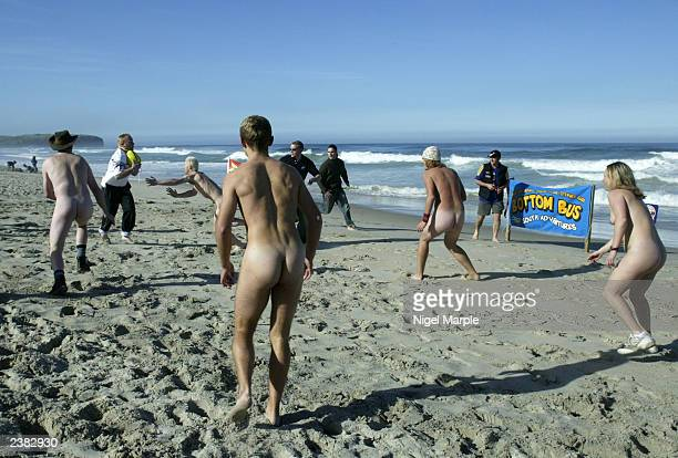 The International Barbarians play against the Kiwi Selection during the International Nude Touch Rugby match at St Kilda's beach on on August 9...