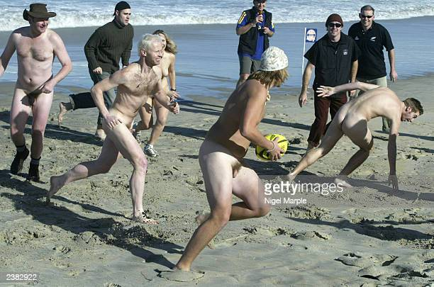 The International Barbarians run against the Kiwi Selection during the International Nude Touch Rugby match at St Kilda's beach on on August 9...