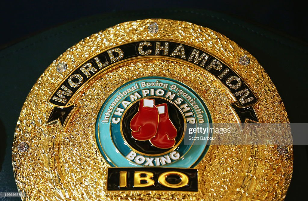 The International Boxing Organization World Champion Belt sits on display during a press conference at Crown Entertainment Complex on November 19, 2012 in Melbourne, Australia. Danny Green and Shane Cameron meet in an IBO World Title bout on Wednesday.