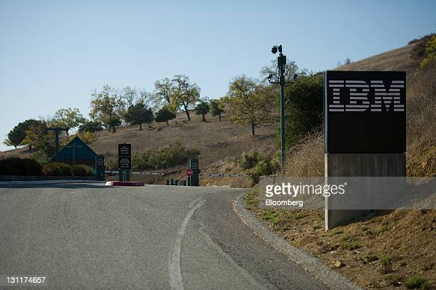 The International Business Machines Corp is displayed on a sign at the entrance to the IBM Research Almaden facilities in San Jose California US on...