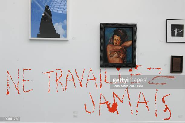 The International Exhibition of Contemporary Art in the Grand Palais in Paris France on October 23 2010 in the Chantal Crousel's gallery are exposed...
