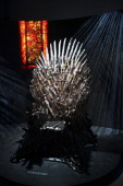 The International Exhibition of HBO's TV Series Game of Trones is presented during a press conference at Masaryk Forum on Februay 14 2014 in Mexico...
